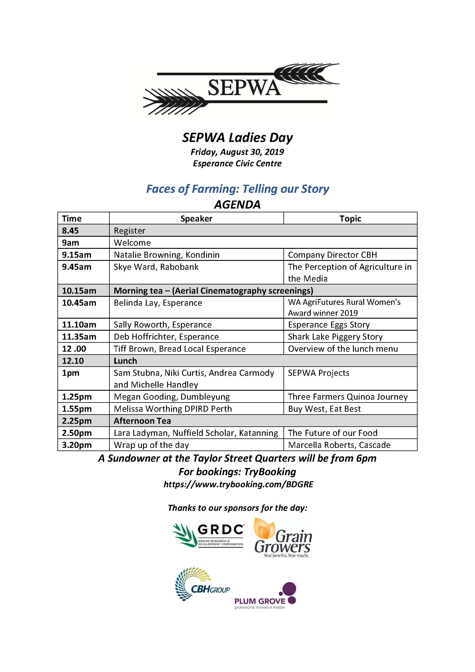 SEPWA Ladies Day Agenda 2019