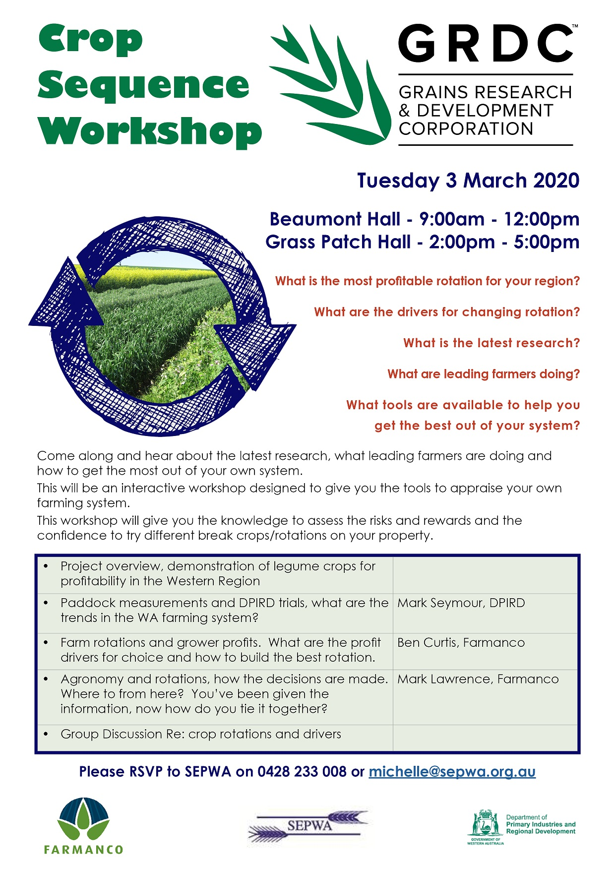 Crop Sequence Workshops 3 March 2020 Beaumont Grass Patch