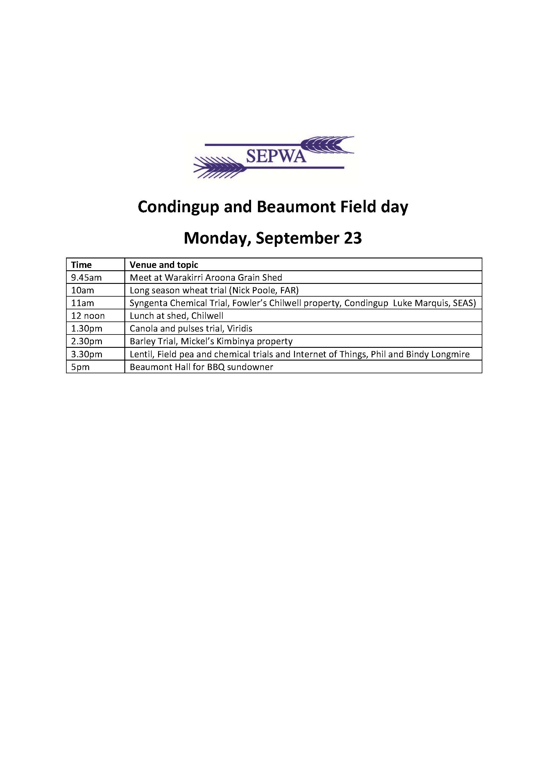 Condingup and Beaumont Field day